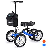 Health Line Aluminum Knee Walker Steerable Knee Scooter with Strong Disc Brake and Shock Absorber, 12' All-Terrain Wheel, Crutches Alternative for Foot Injuries Ankles Surgery, Blue