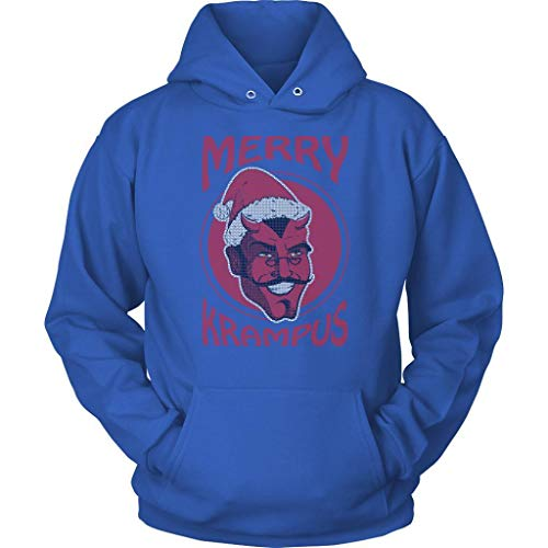 JoyHip.com Merry Krampus Saint Nicholas Counterpart Ugly Christmas Sweater Hoodie Royal -