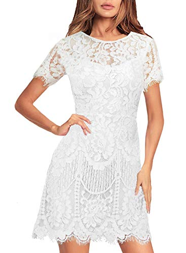 Lace Dress for Women's Summer Casual Party Lovely Fluttering Short Sleeve Rounded Neck A Line Mini Cocktail Wedding Guest Attire 910 (XL, White)