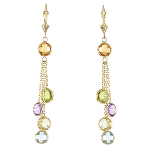 14k Yellow Gold Chandelier Earrings with Round Gemstone Stations by amazinite