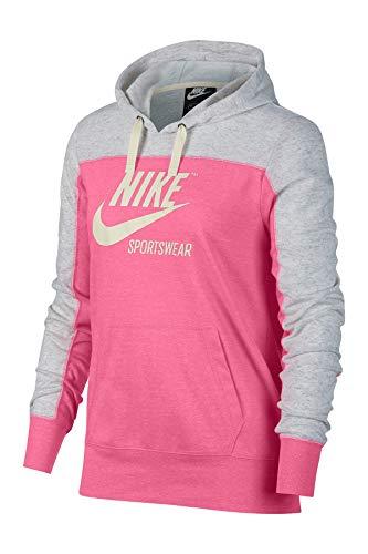 Nike Women's Sportswear Gym Vintage Color Block Graphic Sweatshirt Hoodie (Birch Heather/Pink/Sail, Medium)