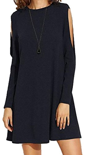 Loose Round Shoulder Tunic Cruiize Tops Black Womens Long Neck Cold Sleeve aF0xY