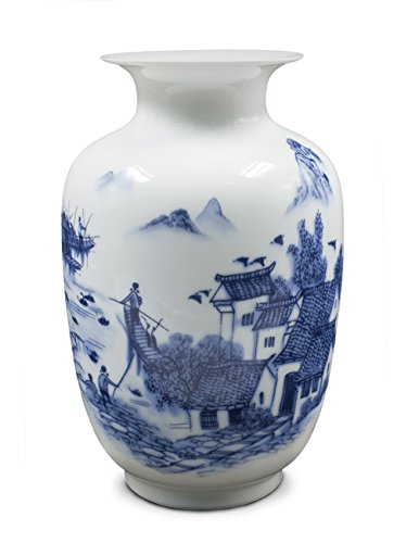 Dahlia Ancient Waterside Village Blue and White Porcelain Flower Vase, 9 Inch Melon Shaped (Blue White Porcelain Vases And)