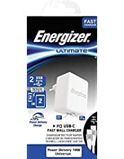 Energizer Ultimate Fast Wall Charger USB, PD 18W With BiColor USB-C to USB-C Cable (1M)