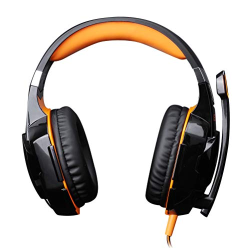 (Gaming Headsets Headphones with Light Mic Stereo Earphones Deep Bass for Laptop Tablet SP4 X-Box Computer (Orange) )