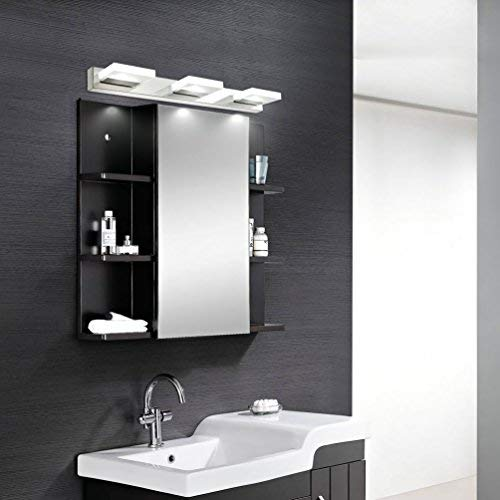mirrea 18in Modern LED Vanity Light in 3 Lights Stainless Steel and Acrylic 16w Cold White 5000K by mirrea (Image #1)