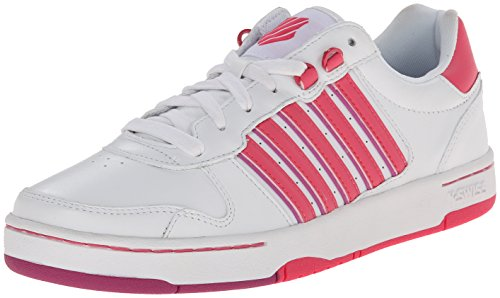 K-Swiss Women's Jackson Fashion Sneaker, White/Honeysuckle/Dahlia Mauve, 8 M US