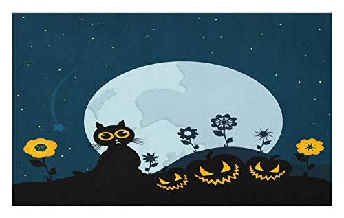Ambesonne Halloween Doormat, Cute Cat and Lanterns Moon on Floral Field with Starry Night Sky Star Cartoon Art, Decorative Polyester Floor Mat with Non-Skid Backing, 30 W X 18 L Inches, Blue Black ()
