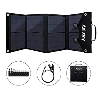 Image of Solar Panels Aeiusny Solar Panel Foldable 60W Portable Solar Charger for Suaoki/Jackery/Webetop Portable Generator/Goal Zero Yeti Power Station/USB Devices, QC3.0 USB Ports(Including Aeiusny Generator Solar Cable)