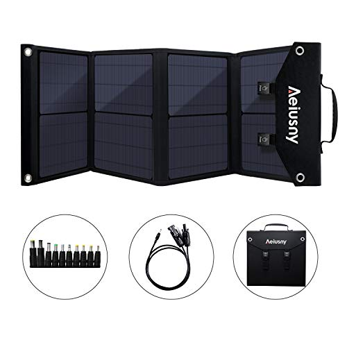 Aeiusny Solar Panel Foldable 60W Portable Solar Charger for Suaoki/Jackery/Webetop Portable Generator/Goal Zero Yeti Power Station/USB Devices, QC3.0 USB Ports(Including Aeiusny Generator Solar Cable)