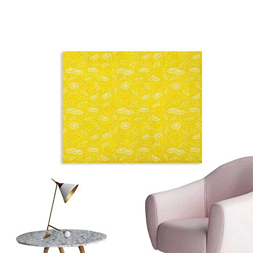 Anzhutwelve Yellow and White Photo Wall Paper Lemons Leaves and Water Droplets Design Monochrome Fruit Illustration The Office Poster Yellow White W48 xL32