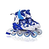 N.Y.L.A. Adjustable Inline Rollerskates Fun Roller Skates Sets,Beginner Comfortable Breathable with Light up 8 Wheels,Blue,L