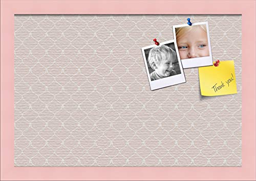 ArtToFrames 18x12 Custom Cork Bulletin Board. This Chain Pattern in Baby Pink Pin Board Has a Fabric Style Canvas Finish, Framed in Baby Pink on Beech (PinPix-575-18x12_0066-81792-YPNK)