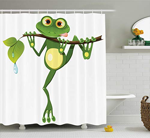 - Ambesonne Animal Decor Shower Curtain Set, Little Frog on Branch of The Tree in Rainforest Nature Jungle Life Artsy Earth, Bathroom Accessories, 75 Inches Long, White Green