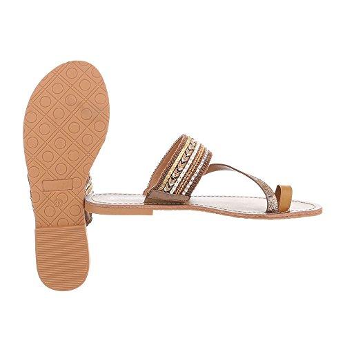 Ital-Design Zapatos Para Mujer Sandalias de Vestir Plano Sandalias de Dedo Marrón Gold