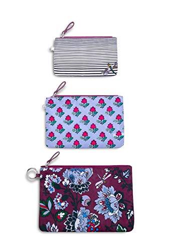 Vera Bradley Women's Set of 3 Pencil Pouch Travel Bags Trio, Bordeaux Blossoms ()