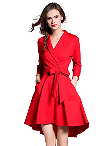 LAI MENG Vestido Plisado de Mujer V-cuello Manga 3/4 A-Line Vestido de Noche EU 34-40 Rojo