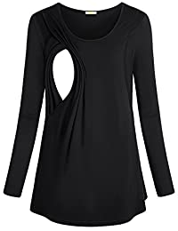 Baikea Women's Long Sleeve Maternity Nursing Tops with Side Slits