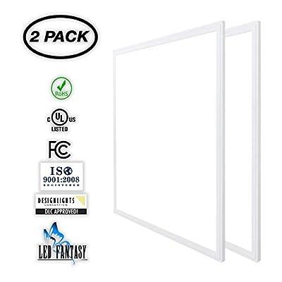 LED FANTASY 2x2 FT LED Panel Dimmable 0-10V, 40W (120W Equivalent), 5000K Daylight White,DLC & UL 2 Pack