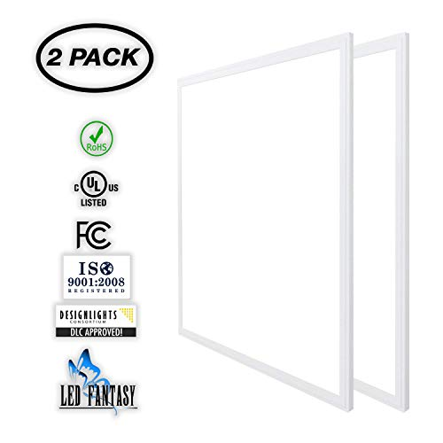 (LED FANTASY 2x2 FT LED Panel Dimmable 0-10V, 40W (120W Equivalent), 5000K Daylight White,DLC & UL 2 Pack)