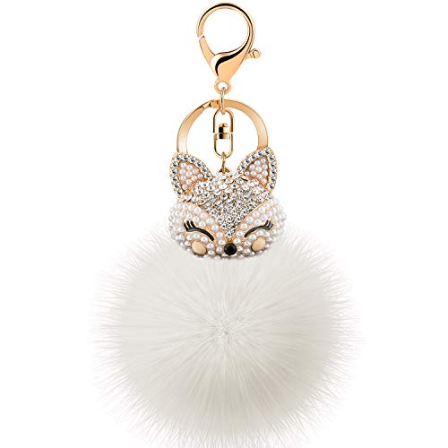 JOUDOO Rabbit Ball Keychain with Rhinestone Fox Head Keyring GJ-001 (White ()