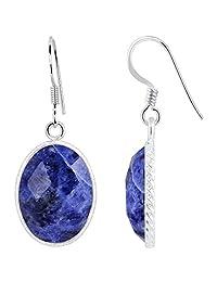 11.6 Ct Sodalite 925 Sterling Silver Gemstone Earrings