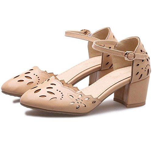 Heel Sandals Cut 1 Shoes Women Summer Out TAOFFEN Block Apricot Sq6wPCWx4