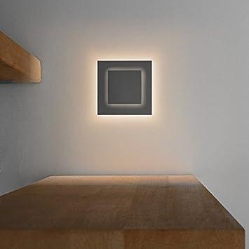 LED Treppenbeleuchtung DUPLEX Aus Aluminium In Eckig Für  Schalterdoseneinbau 68mm   Warmweiß 3000K   Farbe Anthrazit