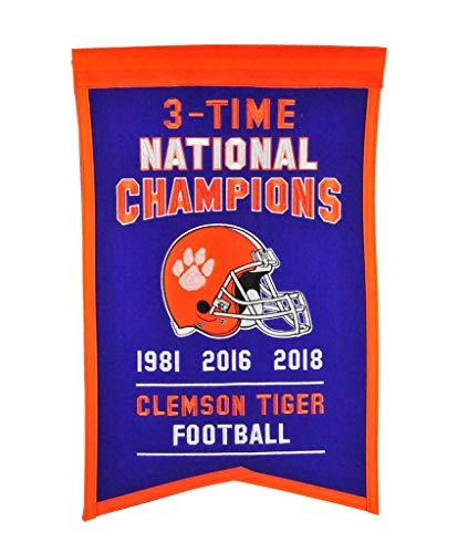 (Winning Streak Clemson Tigers 3 Time National Champions Football (1981,2016,2018) 14x21 Banner)