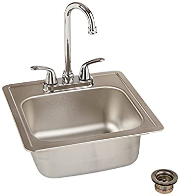 Kindred VP1515/226/2S Reginox Top Mount Single Bowl Stainless Steel Kitchen Sink with 2-Handle Chrome Bar Faucet, Satin