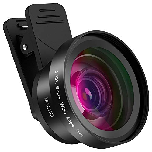 (Hpory Phone Camera Lens 2 in 1 Mobile iPhone Camera Lens Kit 0.45X Wide Angle Lens + 15X Macro Lens for iPhone Samsung Smartphones and Most Phone)