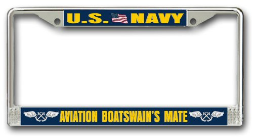 MilitaryBest Navy Aviation Boatswain's Mate AB Chrome License Plate Frame