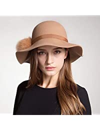 1a276950f04 Dhongmu Female Autumn Winter Wool Felt Hat Fashion Hat Cute Hair Ball Hat  Big Hat (