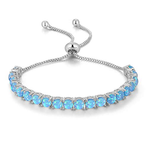 CiNily Adjustable Silver Plated Blue Opal Tennis Bracelet for Women - Fashion Jewelry Gifts