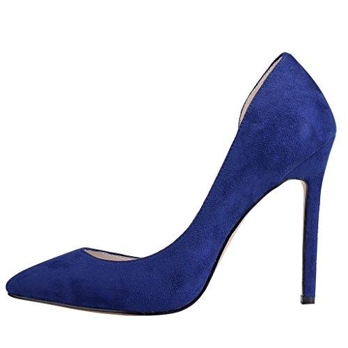 EKS - Zapatos de Tacón Mujer Azul - Blau-Wildleder