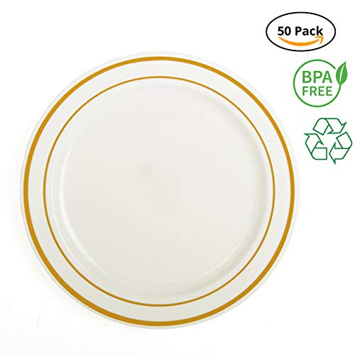 Party Joy 'I Can't Believe It's Plastic' 50-Piece Plastic Dinner Plate Set   Gold Lines Collection   Heavy Duty Premium Plastic Plates for Wedding, Parties, Camping & More -