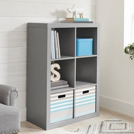 Better Homes and Gardens Bookshelf Square Storage Cabinet 6-Cube Organizer Gray with 2 Open Slot Storage Bins Black from .Better Homes & Gardens