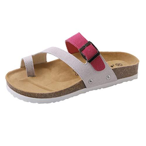 Flip Flops Sandals for Women Oceanside,FAPIZI Ladies Skidding Beach Shoes Cross Peep-Toe Cork T-Strap Red