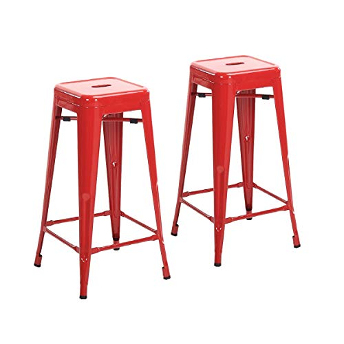 Buschman Set of 2 Red 30 Inch Bar Height Metal Bar Stools, Indoor Outdoor, Stackable