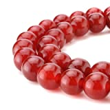 BEADNOVA 10mm AAA Natural Red Agate Fire Quartz Gem Round Loose Beads for Jewelry Making (38-40pcs)