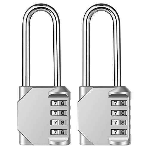 2.5 Inch Long Shackle 4 Digit Combination Lock and Outdoor Resettable Waterproof Padlock for Gym Locker, Chest, Gate, Hasp Cabinet, Toolbox (Silver,Pack of 2)