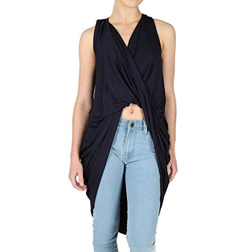 Sttech1 Women's Fashion Draped V-Neck Wrap Cross Folded Irregular Dress T-Shirt Top