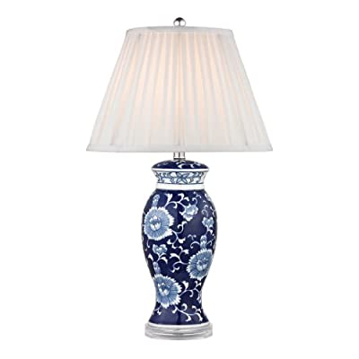 "Dimond Lighting D2474 Blue and White Ceramic Table Lamp, Hand Painted, 16"" x 16"" x 28"""