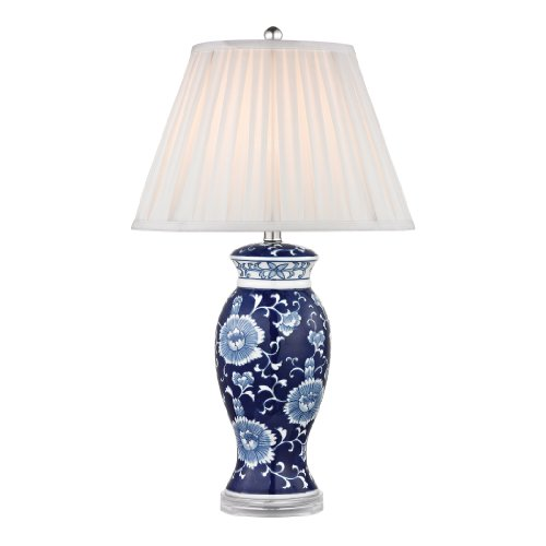 Dimond Lighting D2474 Blue and White Ceramic Table Lamp, Hand Painted, 16