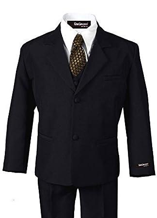 Amazon.com: G187 negro/oro traje formal vestido de niños de ...
