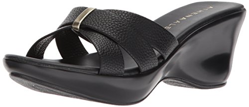 Athena Alexander Women's Serra Wedge Sandal, Black, 9 M US (Athena Alexander Leather Sandals)