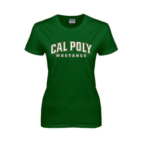 Cal Poly Ladies Dark Green T Shirt 'Calpoly w/ Mustang'