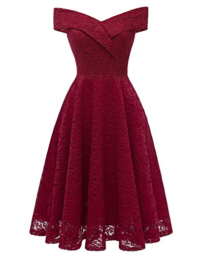 Aibwet Women's Off Shoulder A-Line Knee Length Floral Cocktail Elegant Vintage 1950s Style Bridesmaid Sleeveless Evening Prom Formal Swing Dress(S, Wine Red_1) (Off The Shoulder A Line Wedding Dress)