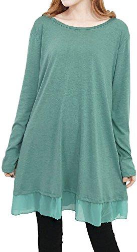 Bouffante Couleur Unie Des Femmes Pinupart Longues Patch Mousseline Manches Chemise Tunique Casual Vert