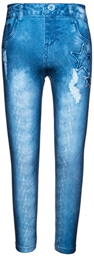 Crush Girl's Printed Leggings Skinny Seamless High Waist Stars 7-16 - Denim Blue
